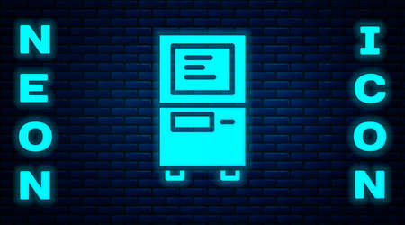 Glowing neon ATM - Automated teller machine icon isolated on brick wall background. Vector