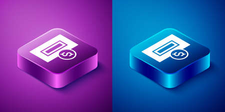 Isometric Hand inserting coin to a slot on a vending machine or arcade machine icon isolated on blue and purple background. Square button. Vector