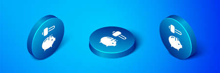 Isometric Piggy bank and hammer icon isolated on blue background. Icon saving or accumulation of money, investment. Blue circle button. Vector Illustration