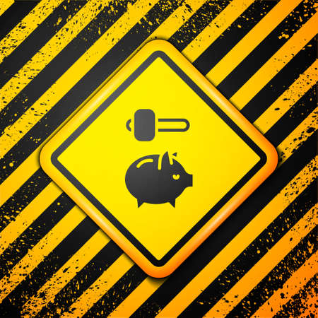 Black Piggy bank and hammer icon isolated on yellow background. Icon saving or accumulation of money, investment. Warning sign. Vector