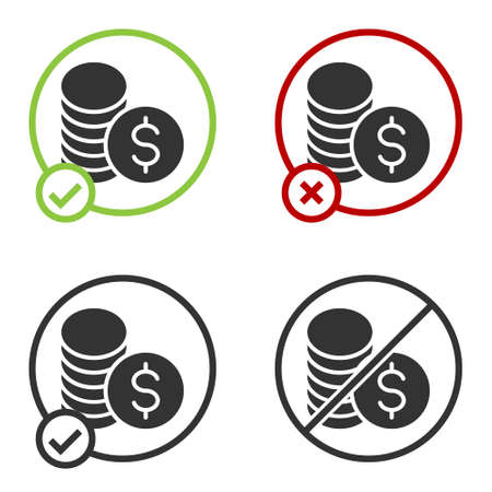 Black Coin money with dollar symbol icon isolated on white background. Banking currency sign. Cash symbol. Circle button. Vector