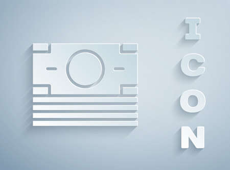 Paper cut Stacks paper money cash icon isolated on grey background. Money banknotes stacks. Bill currency. Paper art style. Vector