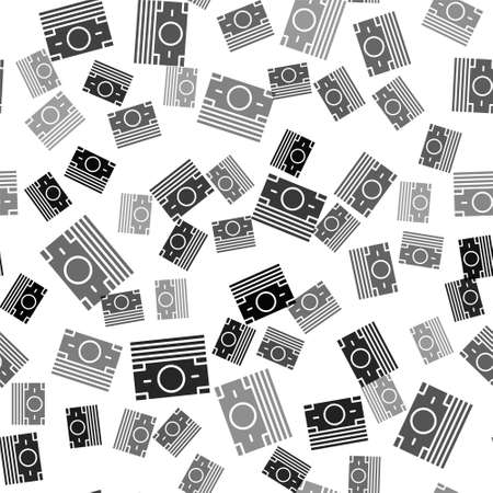Black Stacks paper money cash icon isolated seamless pattern on white background. Money banknotes stacks. Bill currency. Vector Ilustracja