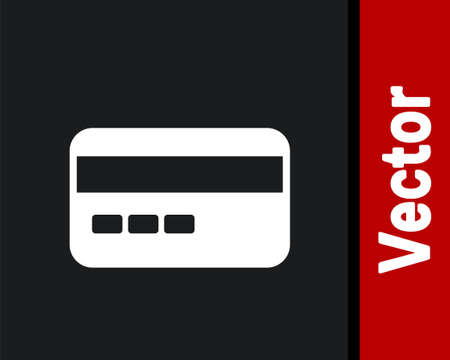 White Credit card icon isolated on black background. Online payment. Cash withdrawal. Financial operations. Shopping sign. Vector Ilustracja