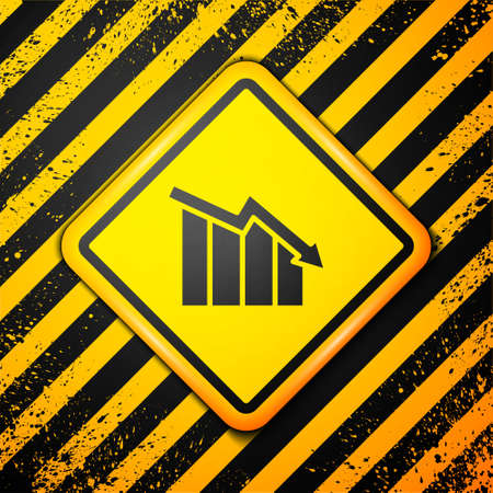 Black Financial growth decrease icon isolated on yellow background. Increasing revenue. Warning sign. Vector Ilustracja