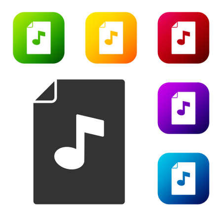 Black Music book with note icon isolated on white background. Music sheet with note stave. Notebook for musical notes. Set icons in color square buttons. Vector