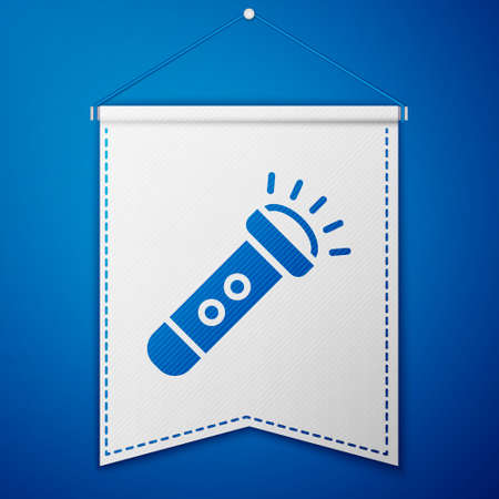 Blue Flashlight icon isolated on blue background. White pennant template. Vector