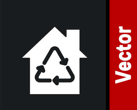 White Eco House with recycling symbol icon isolated on black background. Ecology home with recycle arrows. Vector  イラスト・ベクター素材