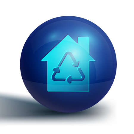 Blue Eco House with recycling symbol icon isolated on white background. Ecology home with recycle arrows. Blue circle button. Vector