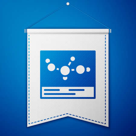 Blue Chemical formula icon isolated on blue background. Abstract hexagon for innovation medicine, health, research and science. White pennant template. Vector