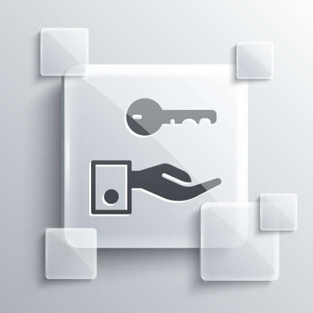 Grey Hotel door lock key icon isolated on grey background. Square glass panels. Vector