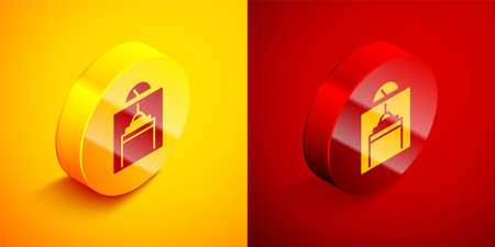 Isometric Lift icon isolated on orange and red background. Elevator symbol. Circle button. Vector