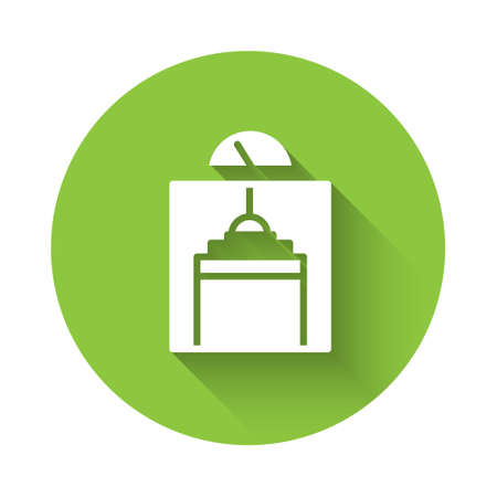 White Lift icon isolated with long shadow. Elevator symbol. Green circle button. Vector Ilustrace
