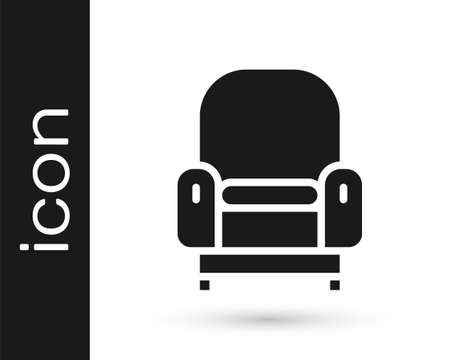 Black Armchair icon isolated on white background. Vector  イラスト・ベクター素材