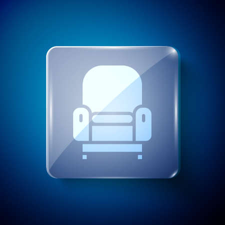 White Armchair icon isolated on blue background. Square glass panels. Vector  イラスト・ベクター素材