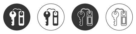 Black Hotel door lock key with number tag icon isolated on white background. Circle button. Vector  イラスト・ベクター素材