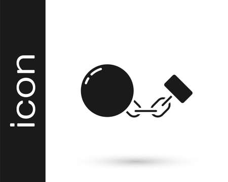Black Ball on chain icon isolated on white background. Vector