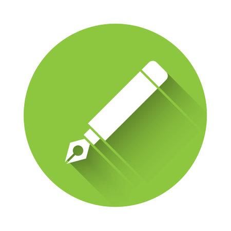 White Fountain pen nib icon isolated with long shadow. Pen tool sign. Green circle button. Vector