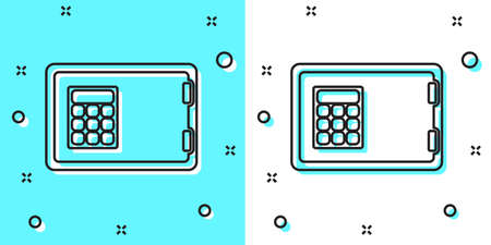 Black line Safe icon isolated on green and white background. The door safe a bank vault with a combination lock. Reliable Data Protection. Random dynamic shapes. Vector Ilustracja