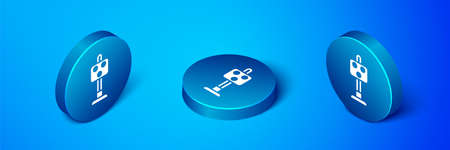 Isometric Train traffic light icon isolated on blue background. Traffic lights for the railway to regulate the movement of trains. Blue circle button. Vector