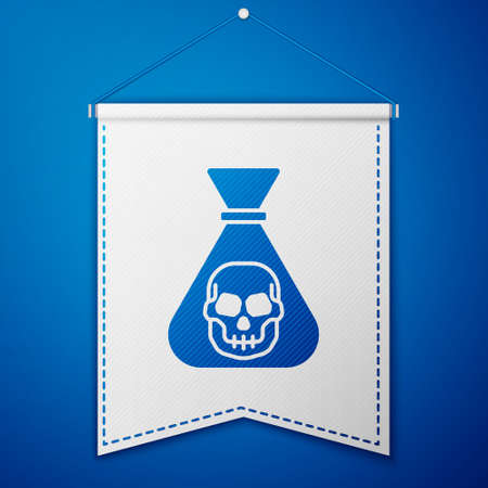 Blue Pirate coin icon isolated on blue background. White pennant template. Vector Ilustracja