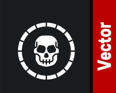 White Pirate coin icon isolated on black background. Vector
