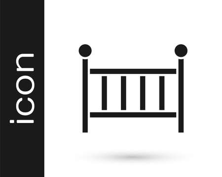 Black Baby crib cradle bed icon isolated on white background. Vector