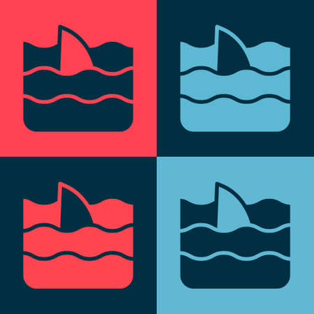 Pop art Shark fin in ocean wave icon isolated on color background. Vector