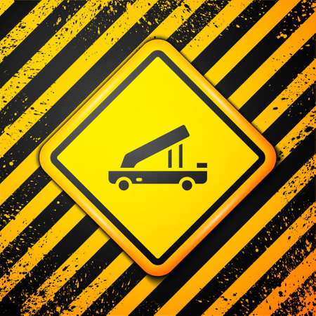 Black Passenger ladder for plane boarding icon isolated on yellow background. Airport stair travel. Warning sign. Vector