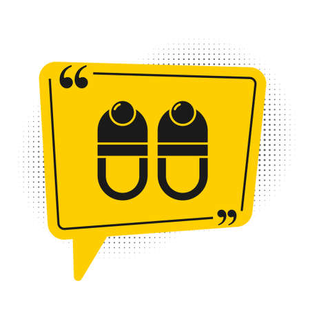 Black Slippers icon isolated on white background. Flip flops sign. Yellow speech bubble symbol. Vector