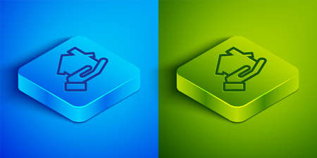 Isometric line buying house icon isolated on blue and green background. Buying house. Square button. Vector Illustration  イラスト・ベクター素材