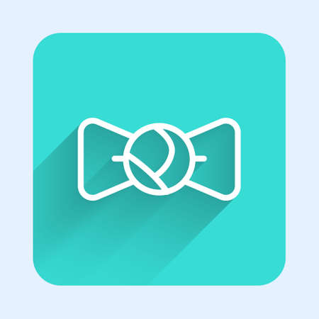 White line Bow tie icon isolated with long shadow. Green square button. Vector