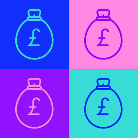 Pop art line Money bag with pound icon isolated on color background. Pound GBP currency symbol. Vector Ilustracja
