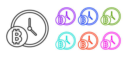 Black line Cryptocurrency coin Bitcoin with clock icon isolated on white background. Physical bit coin. Blockchain based secure crypto currency. Set icons colorful. Vector Ilustracja