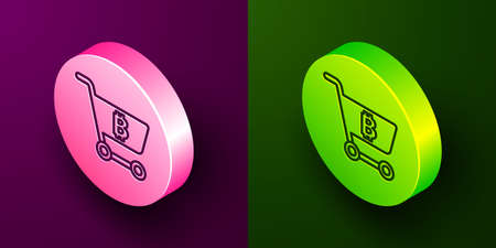 Isometric line Shopping cart with bitcoin icon isolated on purple and green background. Online payment. Cash withdrawal. Modern method of payment. Circle button. Vector