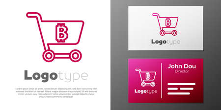 Logotype line Shopping cart with bitcoin icon isolated on white background. Online payment. Cash withdrawal. Modern method of payment. Logo design template element. Vector