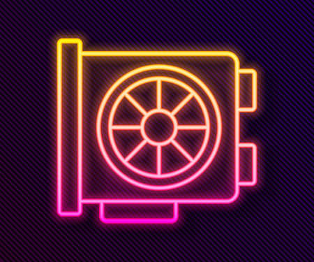 Glowing neon line Video graphic card icon isolated on black background. Vector Ilustracja