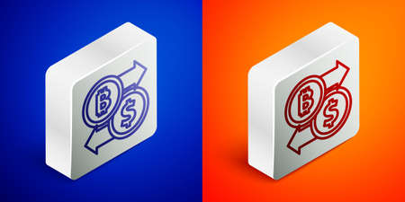 Isometric line Cryptocurrency exchange icon isolated on blue and orange background. Bitcoin to dollar exchange icon. Cryptocurrency technology, mobile banking. Silver square button. Vector