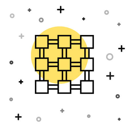 Black line Blockchain technology icon isolated on white background. Cryptocurrency data. Abstract geometric block chain network technology business. Random dynamic shapes. Vector Ilustracja