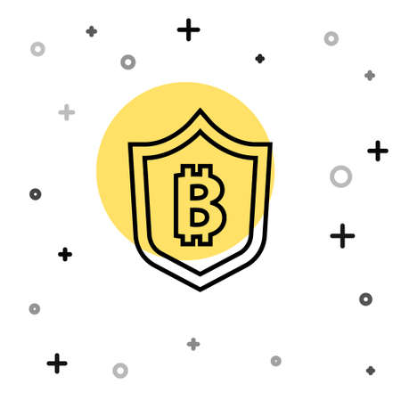 Black line Shield with bitcoin icon isolated on white background. Cryptocurrency mining, blockchain technology, security, protect, digital money. Random dynamic shapes. Vector Ilustracja
