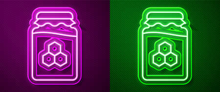 Glowing neon line Jar of honey icon isolated on purple and green background. Food bank. Sweet natural food symbol. Vector Illustration