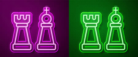 Glowing neon line Chess icon isolated on purple and green background. Business strategy. Game, management, finance. Vector Illustration