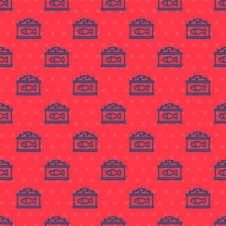 Blue line Tin can with caviar icon isolated seamless pattern on red background. Vector