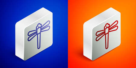 Isometric line Dragonfly icon isolated on blue and orange background. Silver square button. Vector Illustration