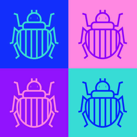 Pop art line Colorado beetle icon isolated on color background. Vector Illustration