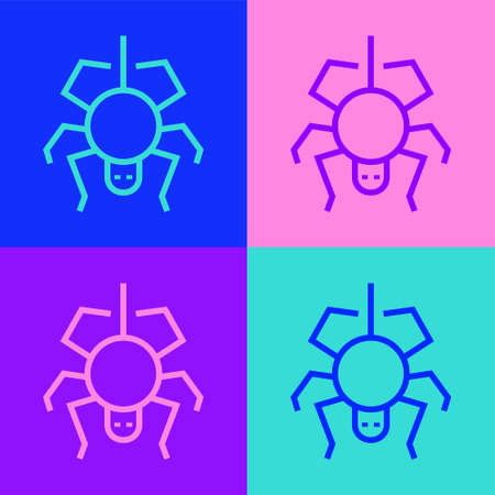 Pop art line Spider icon isolated on color background. Happy Halloween party. Vector