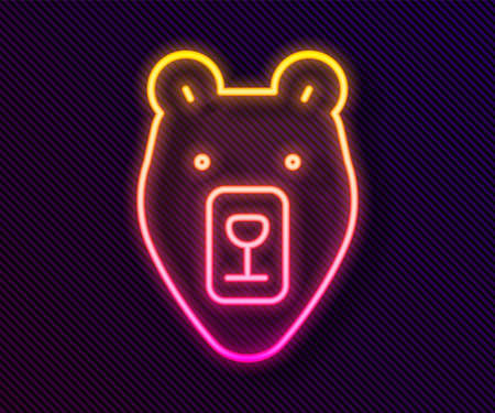 Glowing neon line Bear head icon isolated on black background. Vector