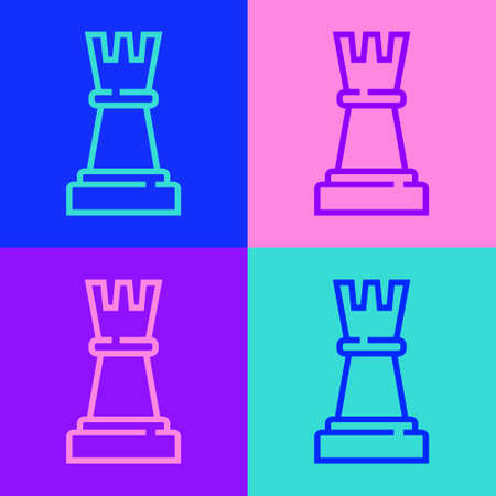Pop art line Chess icon isolated on color background. Business strategy. Game, management, finance. Vector Illustration