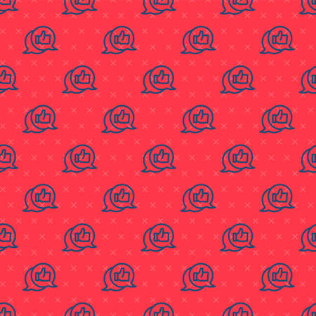 Blue line Consumer or customer product rating icon isolated seamless pattern on red background. Vector