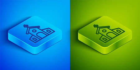 Isometric line Church building icon isolated on blue and green background. Christian Church. Religion of church. Square button. Vector 일러스트